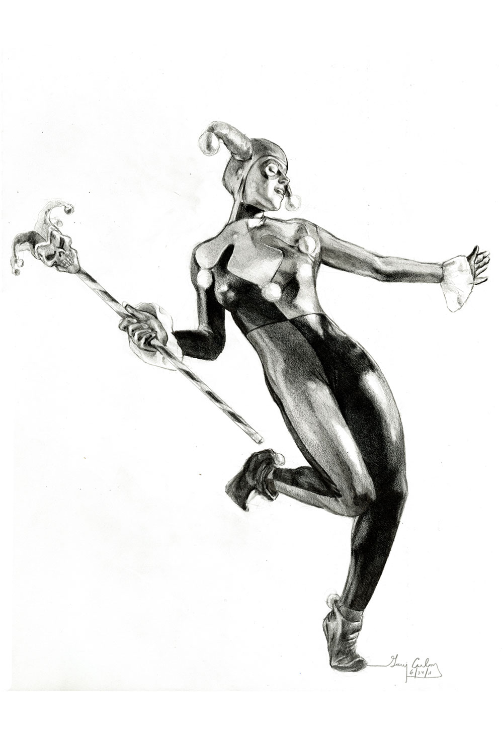 Harley Quinn with staff pencil study